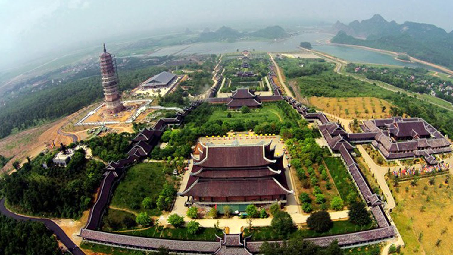 The image of Bai Dinh pagoda population from height