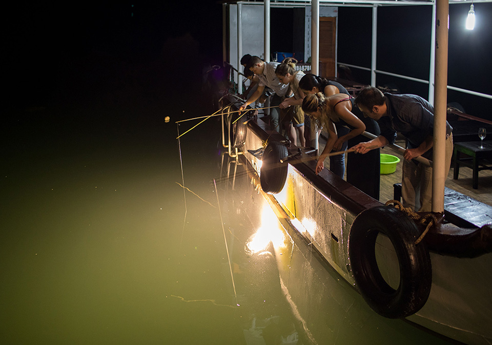 Halong Bay squid fishing